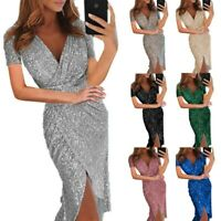 Women Short Sleeve Fashion Maxi Casual V-Neck Summer Sexy Bling Canonicals Dress