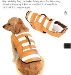 High Visibility 2XL Dog Life Jacket, Safety, Superior Buoyancy Rescue Handle