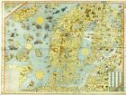 FIRST PRINTED MAP OF SCANDINAVIA 1539 A.D. FASCINATING HISTORICAL IMAGE HARDBACK