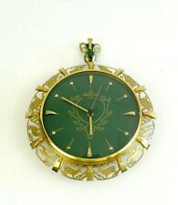 ORIGINALMID CENTURY VINTAGE BRASS & GREEN DIAL WALL CLOCK DEER BY RESOANKER 60S