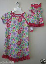 """Girl Matching Doll Fashion Flowers Print Nightgown Fits 18"""" doll  Size 7 NWT"""