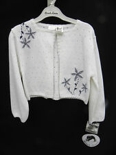 NWT Sarah Louise Girl's White Cardigan Sweater, Church, Holiday Sz. 3