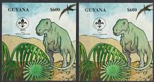 Guyana 1993 Prehistoric Dinosaurs Scouts Gold Silver s/s MNH**