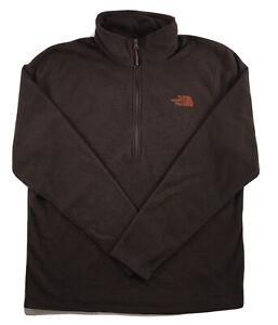 Men The North Face Texture Cap Rock 1/2 Zip Fleece Pullover Long Sleeve Brown L