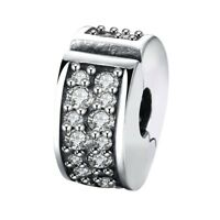 SHINING ELEGANCE clip / lock- 925 Sterling silver hinged stopper bead charm - CZ