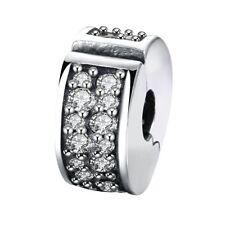 SHINING ELEGANCE clip/lock - Solid 925 sterling silver European bead charm- CZ