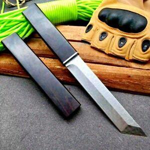Tanto Knife Mini Katana Fixed Blade Hunting Tactical Combat VG10 Damascus Steel