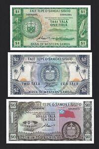 WESTERN SAMOA Set $1 $2 $10 Tala 1967 (2019) P-16e, 17e, 18e, Fresh UNC S-Prefix