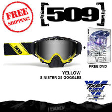 509 Sinister X5 Yellow & Chrome Lens Snowmobile Goggle + Free Vol 11 DVD