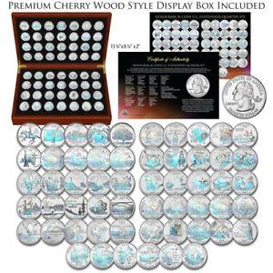 1999-2009 Complete HOLOGRAM Statehood Quarter 56-Coin Set in Cherry Wood Box COA