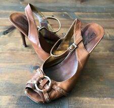 Roberto Botticelli Women's Dress Shoes-High Heels-Brown-Leather-Size 39.5-Italy