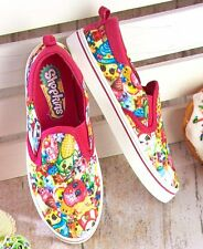 Girl's Shopkins Slip-On Canvas Shoes Fun All Over Character Print Size 12