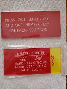Seeburg  J - R  Jukebox Coin Glass Price / Instruction Plates