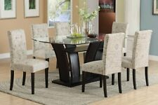 7pc Espresso Dining Room Kitchen Set Table 6 Ivory White Parson Chairs 7 piece