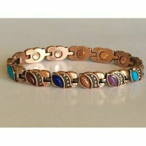Copper Magnetic Link Turquoise Stone Bracelet  Arthritis Pain Relieve Eyes Shape