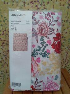 BRAND NEW DOUBLE SOFT 100% COTTON DUVET COVER + 2 PILLOWCASES - IKEA LUNDSLOK