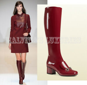 GUCCI BOOTS TALL LILLIAN BURGUNDY LEATHER LOAFER DESIGN HORSEBIT $1,495 36.5 6.5