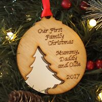 Personalised 1st First Family Christmas Wooden Xmas Tree Bauble Decoration Gift