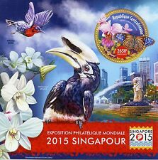 Central African Rep 2015 MNH Singapore 2015 1v S/S Birds Flowers Orchids Stamps