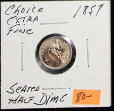 1857 Rainbow Toned Choice Extra Fine Seated Liberty Half Dime