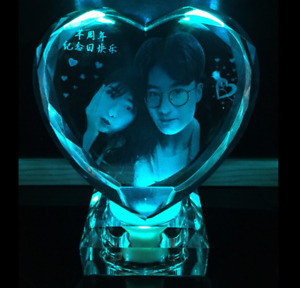 Personalized Custom Laser Etched Engraved Crystal Glass Photo & LED Light Base
