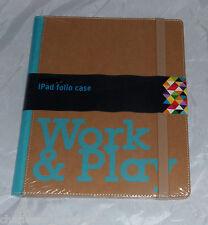 Folio Estuche Cubierta Protectora iPad Apple tan & Turquesa Azul trabajar y jugar nuevo