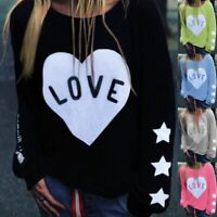 Women Love Heart Print Long Sleeve Pullover Tops Blouse Ladies Casual Sweatshirt