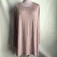 NWOT LOGO by Lori Goldstein Striped Knit Top with Side Slits sz 3x MRSP $67 pink
