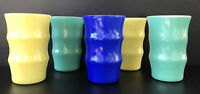 "Vintage Milk Glass Tumblers Large Ribbed Yellow Green Blue 4.5"" Set Of 5"