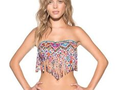 NEW Lucky Brand Organic Cafe Bandeau Fringe Hippie Bikini Swim Top Medium NWT