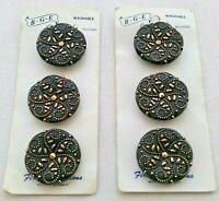 Vintage Sewing Buttons BGE BLACK GOLD Round Etched Floral Flower Spiral Cards