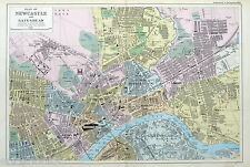 NEWCASTLE ON TYNE & GATESHEAD - Original Antique Map / Street Plan - BACON, 1907