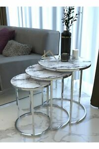 Silver White Marble Glass Coffee Tables 3Pcs Living Room Home Furniture Bedsides