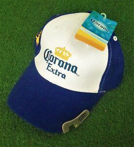 Corona Extra Adjustable Hat w/ Bottle Opener Brim - Blue / White NWT