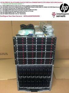 HP C7000 G3 16x BL460c Gen8 V2 55TB 10Gbit iSCSI 320-Core 2TB Blade P2000 G3 SAN