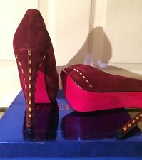 Womens Suedette Metal Detail Heels Stiletto Red Shoes Party Evening Prom UK 5