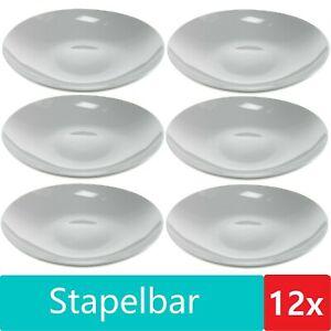 12x Suppenteller B-Ware weiß 21 cm Salat Pasta Speise Nudel Teller Keramik Set