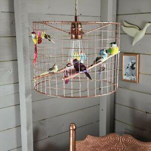 Copper Rainbow Birds Birdcage Cage Shade Chandelier Light Fun Bird Lightshade