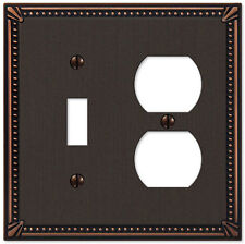 IMPERIAL BEAD ANTIQUE BRONZE 1 DUPLEX & 1 TOGGLE COMBO SWITCHPLATE WALLPLATE