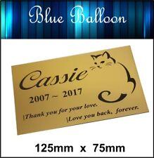 Pet Cat Memorial Plaque 125mm x 75mm Engraved. Personalised
