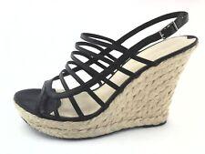 VIA SPIGA Black Strappy Tandy Wedge ESPADRILLES Womens Sandals US 8/39 EUC $175