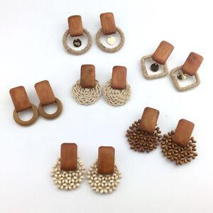 Womens Fashion Jewelry Retro Wild Wooden Beads Ear Stud Boho Earrings Ear Dangle