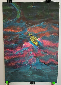 psychedelic pop art SAILING SHIP IN A STORM BLACKLIGHT POSTER
