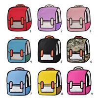 Women 2D Drawing 3D Jump Style Cartoon Backpack School Bag Travel Rucksack NEW