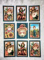 Set of 9 Cards~Autumn Fall Scarecrow's~Greeting Card Toppers~Card Making~#140N