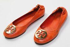 a4b23b33004 Women s Tory Burch Reva Ballet Flats Shoes Size Sz US 7 M Orange Leather  Logo