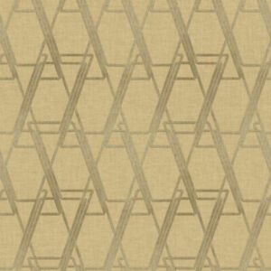 Geometric Art Deco Look Raised Print Wallpaper in Muted & Metallic Gold  WE4725