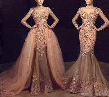 Luxury Crystals Appliques Mermaid Evening Celebrity Party Dress Prom Formal Gown
