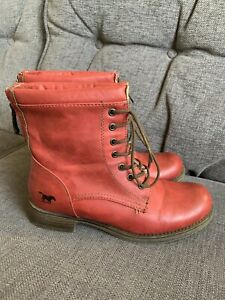 Mustang Jeans Ladies Boots 4 37 Lace Up Winter Ankle Casual Everyday Red