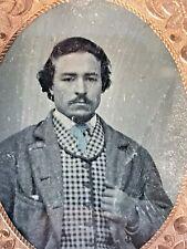 New ListingAntique Johnny Deep Look Alike Gentlemen w Check Vest Daguerreotype Photo w Case